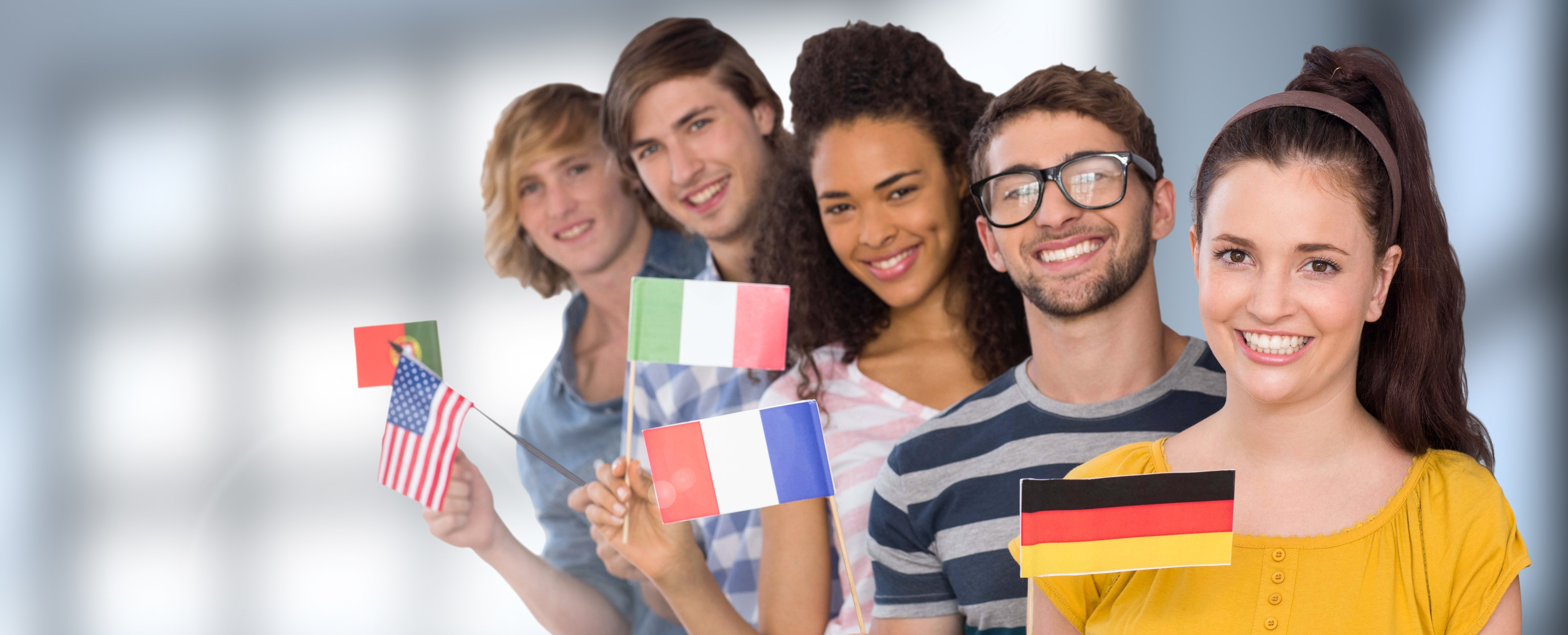 International students with their country flags.